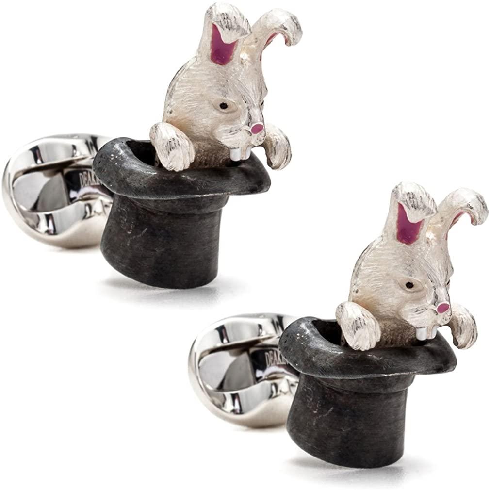 Deakin and Francis Sterling Silver Men's Rabbit in Hat Cufflinks, White