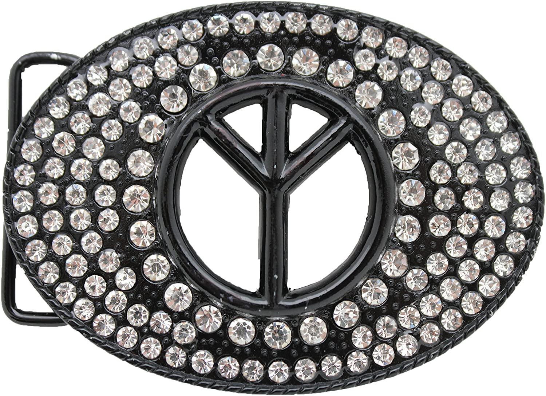 TFJ Men Women Belt Buckle Western Fashion Big Metal Peace Sign Silver Beads Black