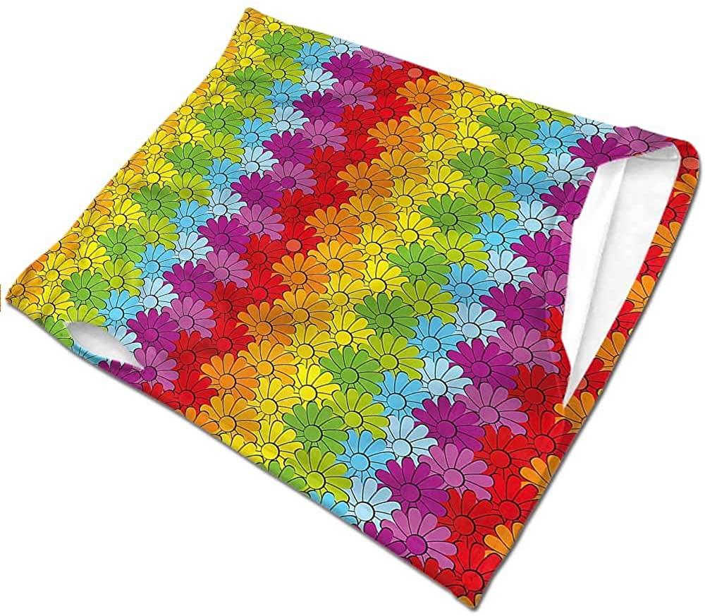 Bandanas for Women Floral,Rainbow Colored Flowers Headband Neck Gaiter