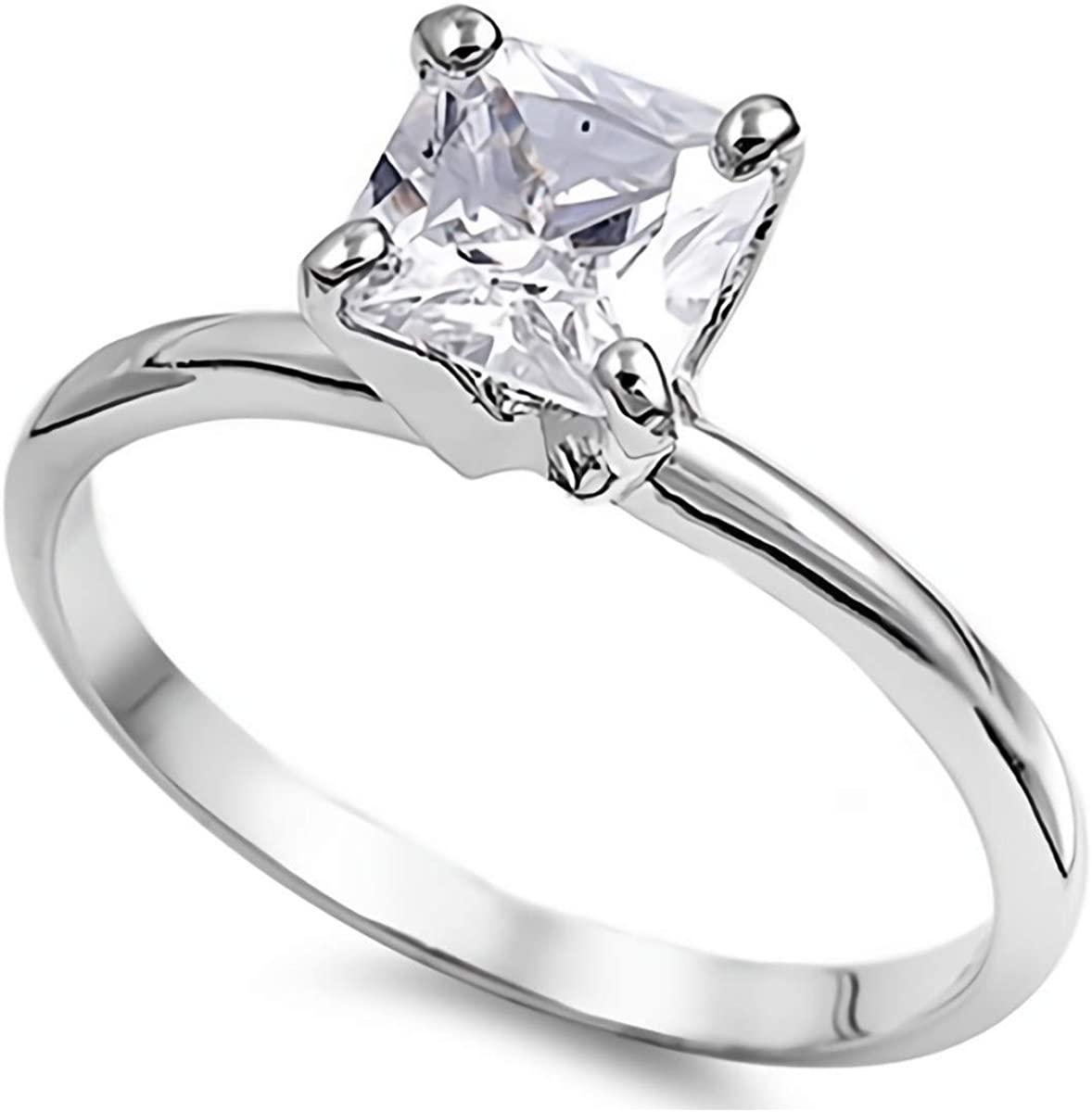 Glitzs Jewels 925 Sterling Silver CZ Ring (Clear)   Cubic Zirconia Jewelry Gift