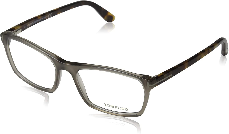 Tom Ford for man ft5295-020, Designer Eyeglasses Caliber 56, Matte Grey Front, Havana Temples, 56/17/145