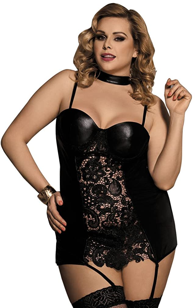 YouYayaZai Women Black Sexy Lingerie Faux Leather Teddy Nightgown Babydoll