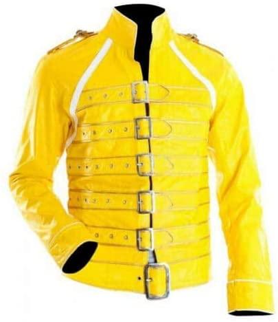 New Freddie Mercury Wembley Rock Band Queen Concert Yellow Cosplay Costume Jacket