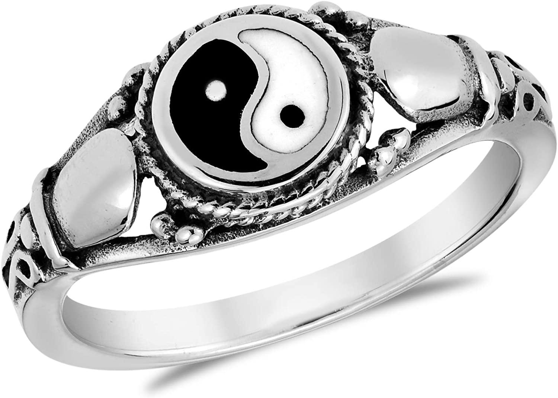 AeraVida Timeless Yin and Yang Cobra Symbol .925 Sterling Silver Ring