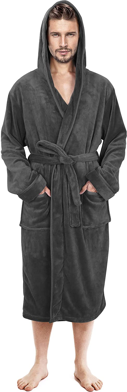 NY Threads Mens Hooded Robe - Plush Long Bathrobes for Men