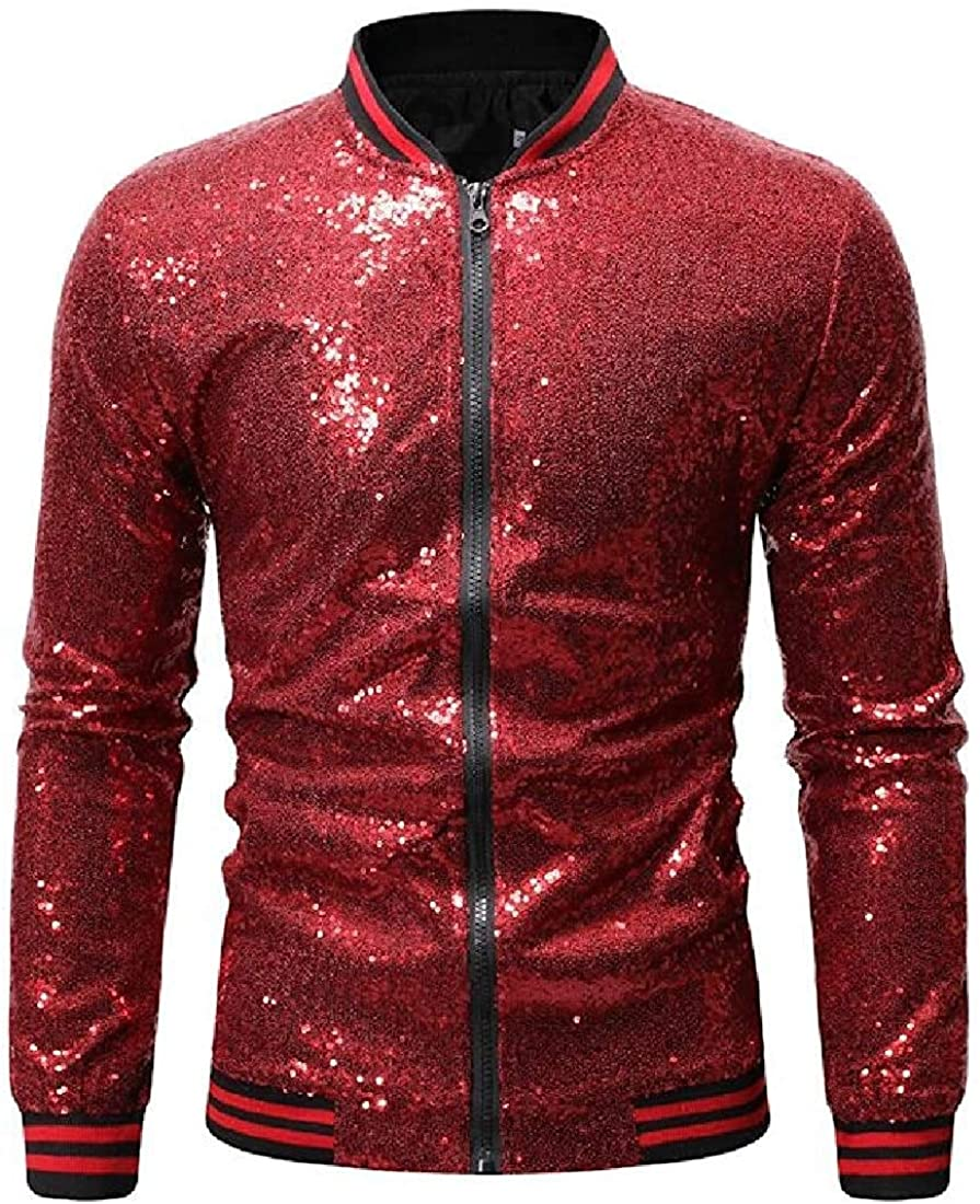 Qhghdgysd Mens Stand Collar Sequins Zip Front Casual Baseball Bomber Jacket Coat