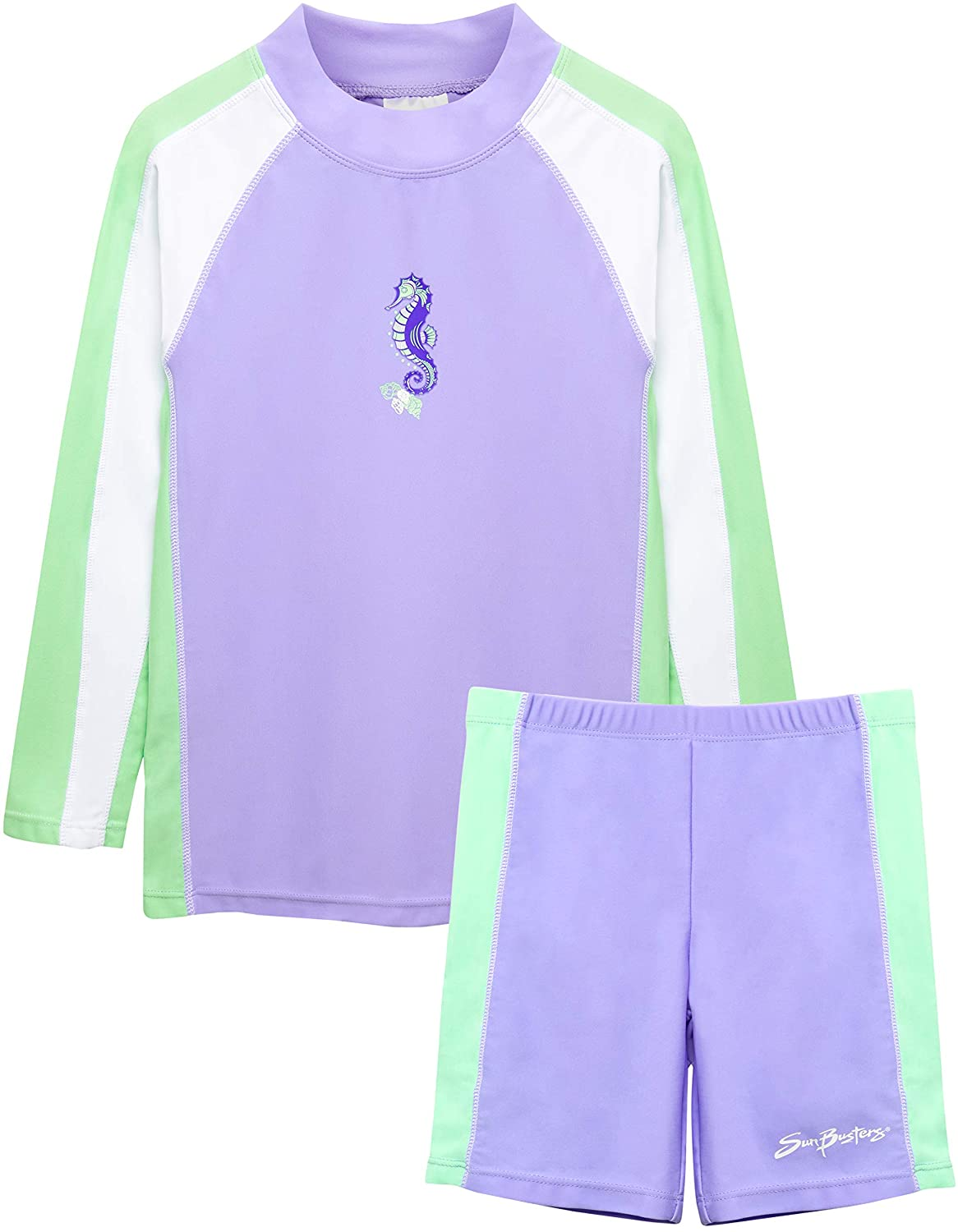 SunBusters Girls Two-Piece Long Sleeve Swimsuit Set, UPF 50+ Sun Protection