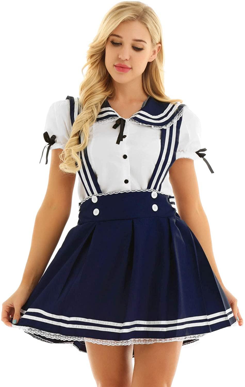 ACSUSS Women's Naughty Schoolgirls Japanese School Uniform Suspender Pleated Skirt Sailor Outfits