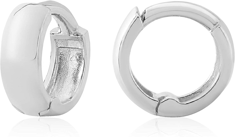 14k White Gold Cuff Huggie Earrings HW73-7.0mm