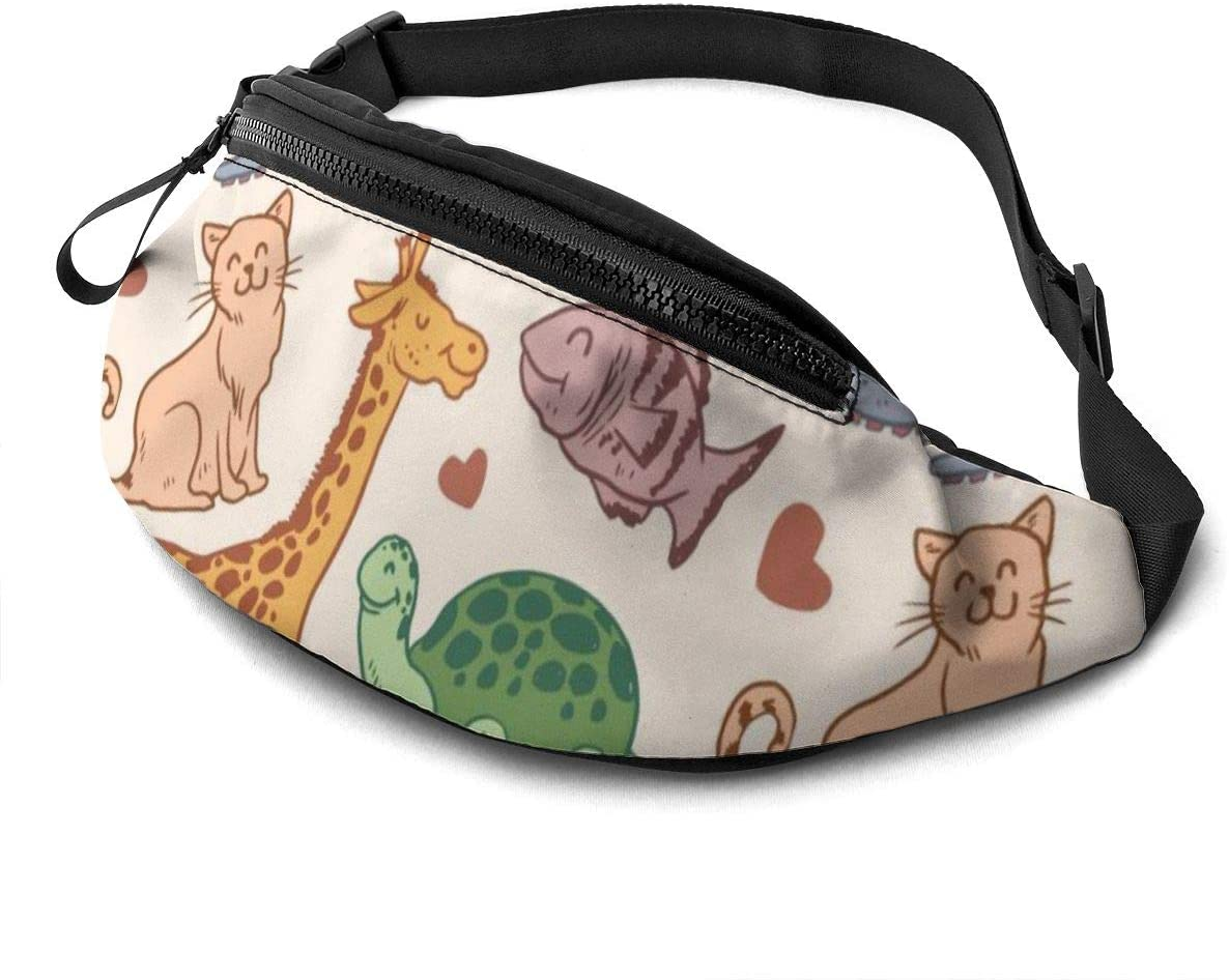 Hand Drawn Animals Pattern Fanny Pack For Men Women Waist Pack Bag With Headphone Jack And Zipper Pockets Adjustable Straps