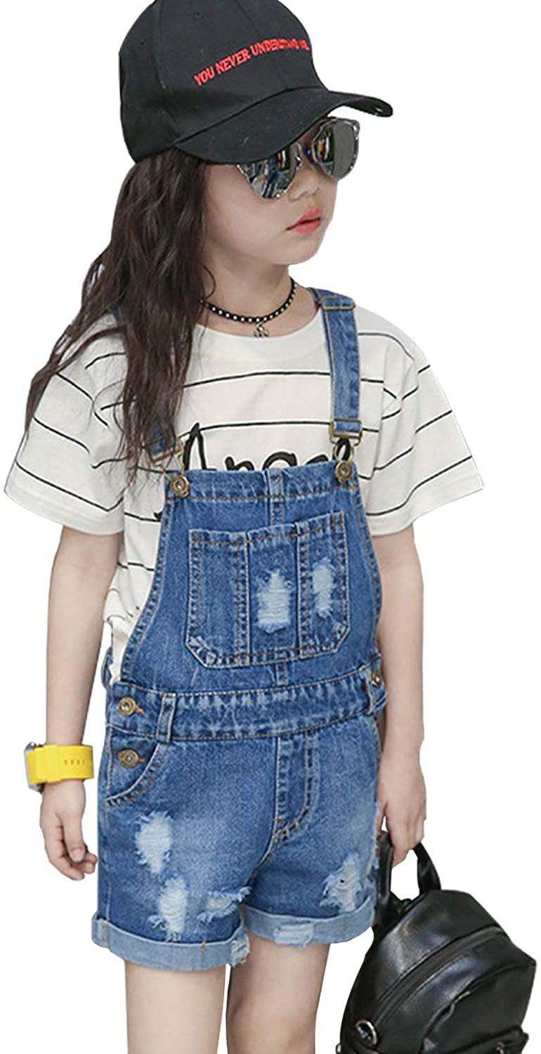 LAVIQK 4-16 Girls Little Big Kids Denim Shortalls Bib Overalls Jumpsuit Boyfriend Jeans Denim Romper Blue