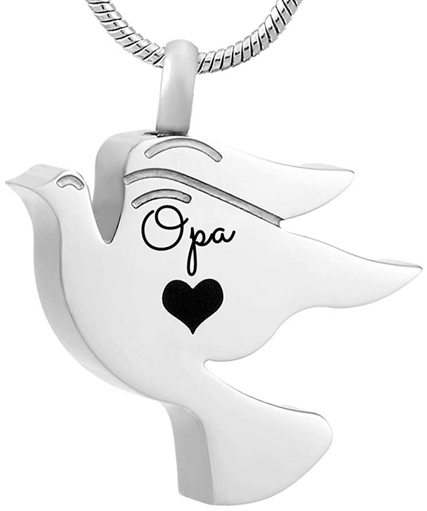 misyou Pigeons Pendant Cremation Urn Necklace for Ashes Jewelry Memorial Keepsake Pendant for Mom Dad