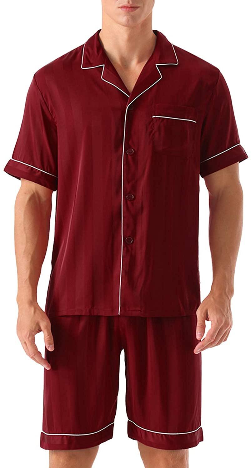 ninovino Men's Short Sleeve Satin Pajama Set Button-Down Shorts Sleepwear Loungewear Nightwear