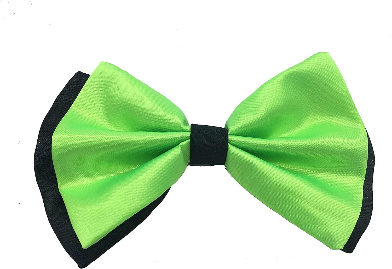 Green with Black Tuxedo Classic Bowtie Pure Plain Neckwear Adjustable Men's Bow Tie