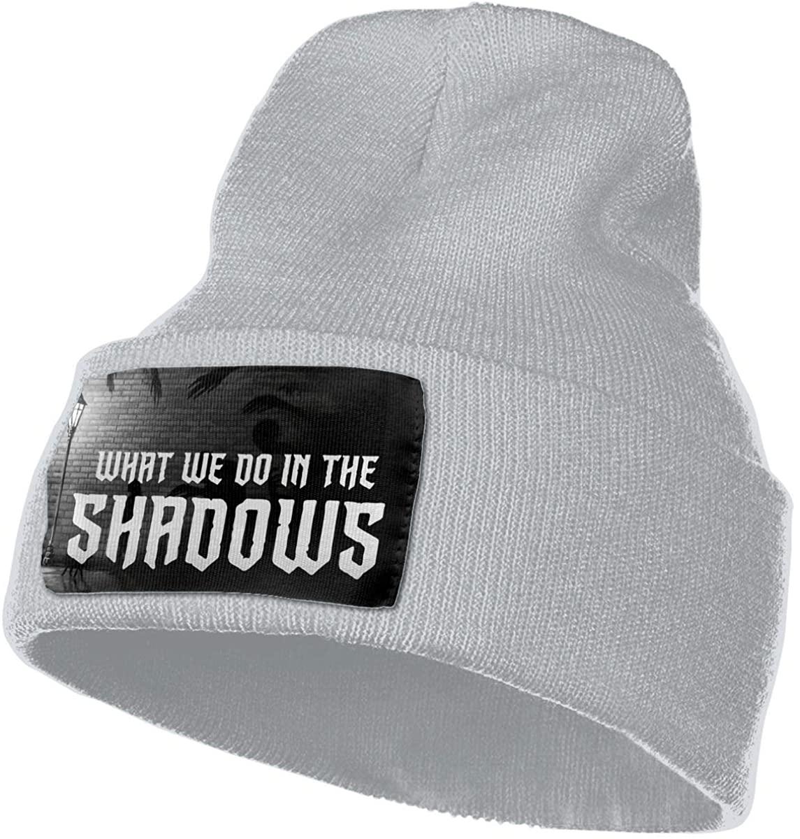 What We Do in The Sha-dows Unisex Fall Winter Warm Knit Cap Beanie Hat Stretchy Ski Cap, 18x30 cm Gray