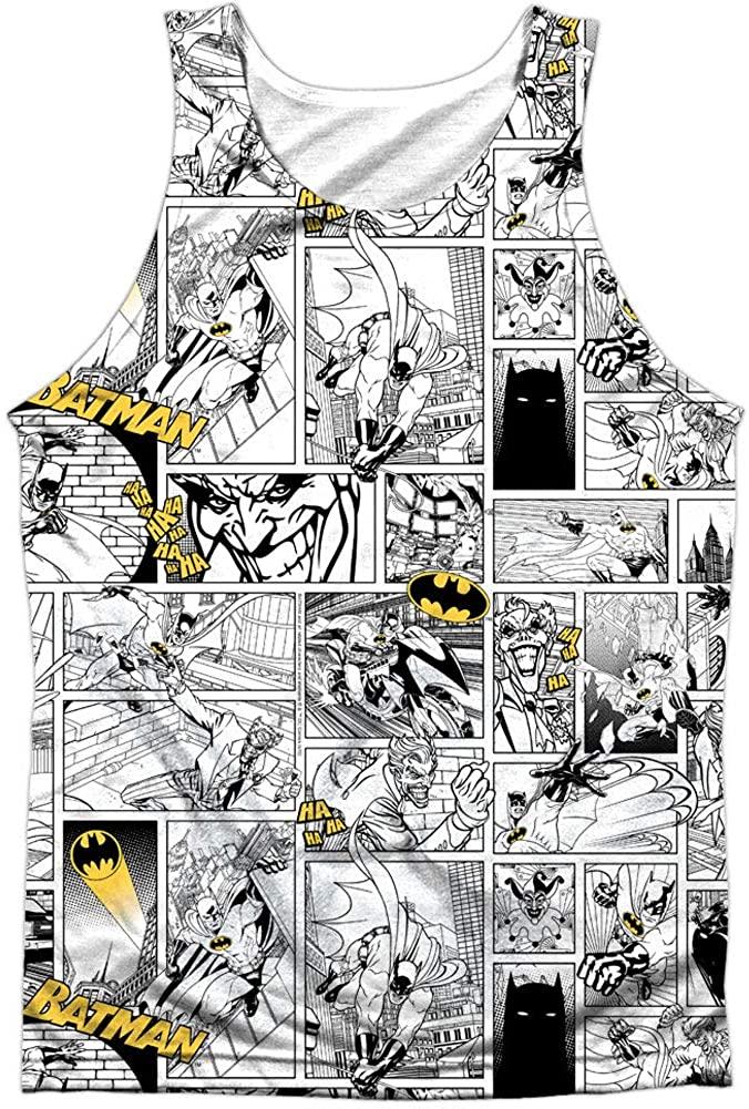 Batman Men's Comic All Over Mens Tank White