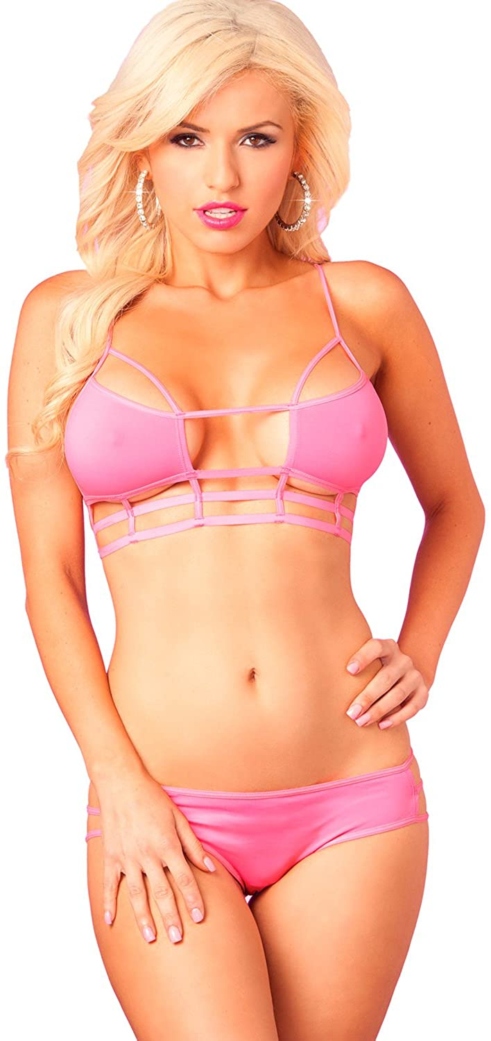 Pink Lipstick Women's Cage Top and Panty Set