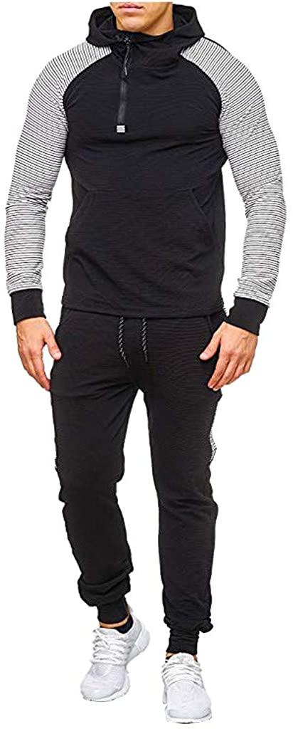 Aoukey Men's Sportswear Set|Sportswear Zipper Sweatshirt|Tops Pants Set|Long Sleeve Hoodie Sweater Pants Set