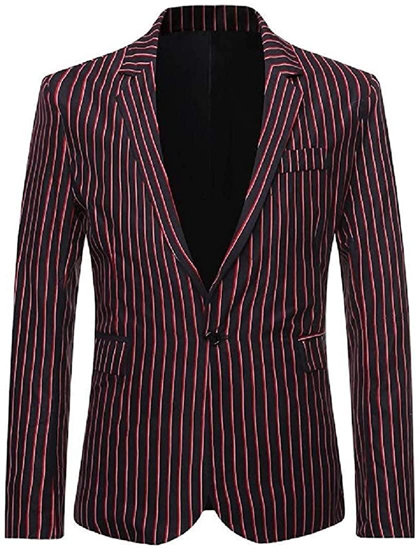 Mens Color Block Lapel Stripe Blazer Slim Fit Casual 1 Button Dress Blazer Jacket Suit Coat,2,Large