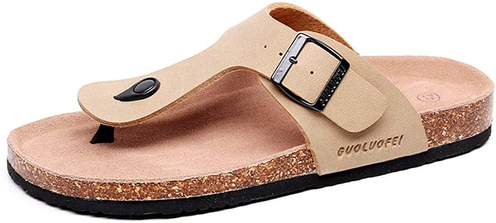 GUOLUOFEI Unisex Casual Flip Flops Cork Slippers with Adjustable Buckle Straps, Leather Cork Sandals (7 Women/6 Men,Beige)