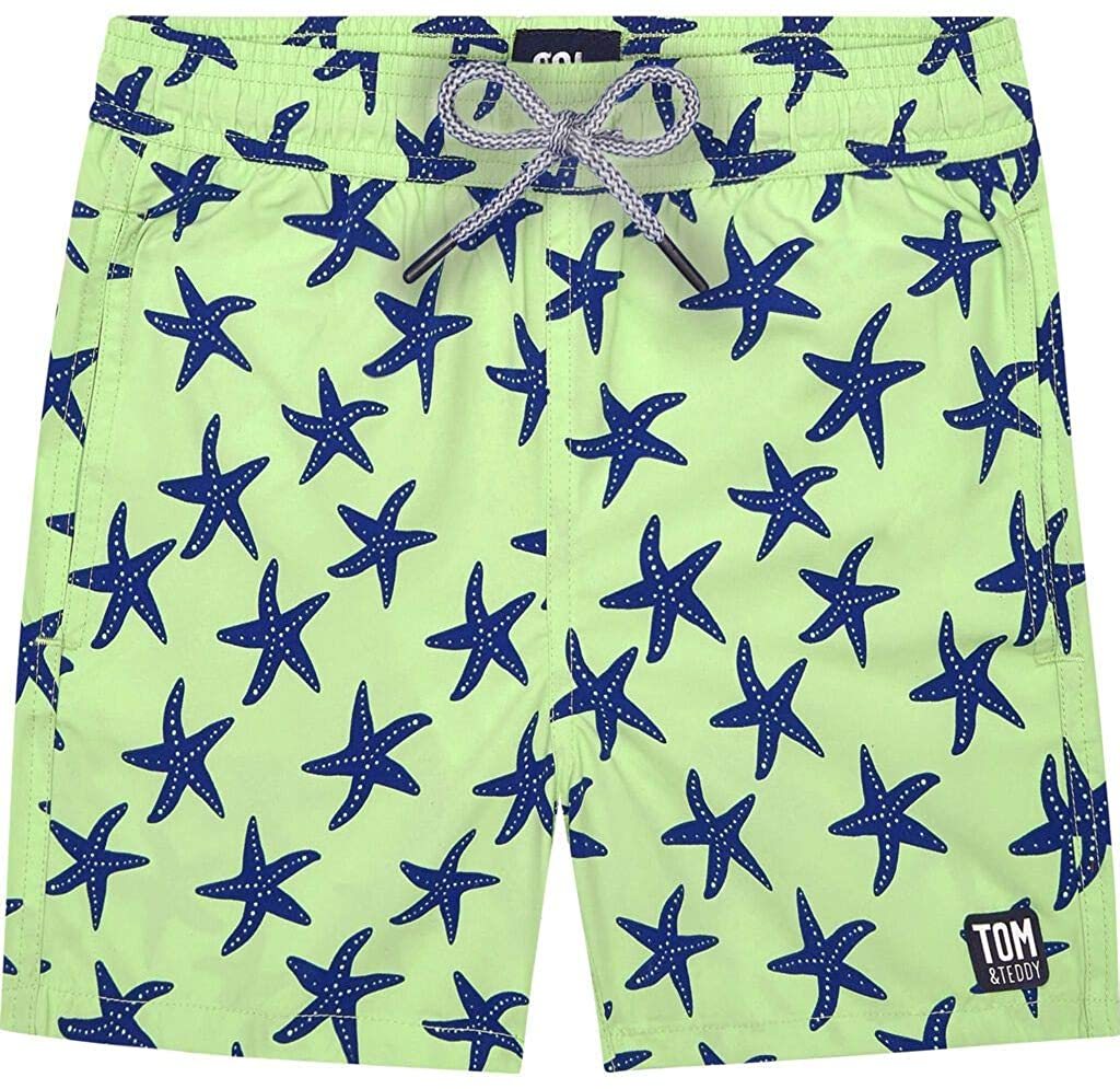 Tom & Teddy Boy's Starfish Swim Trunk | Fresh Green/Blue