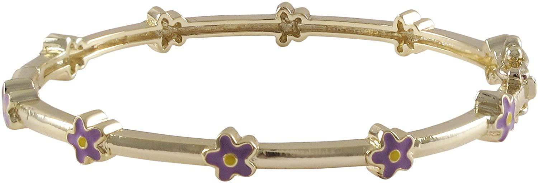 Ivy and Max Gold Finish Purple Enamel Flowers Girls Bangle Bracelet (50mm)