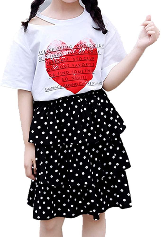 Oushiny Girls' Tiered Skirt & Print T-Shirt 2pcs Set for 2-12