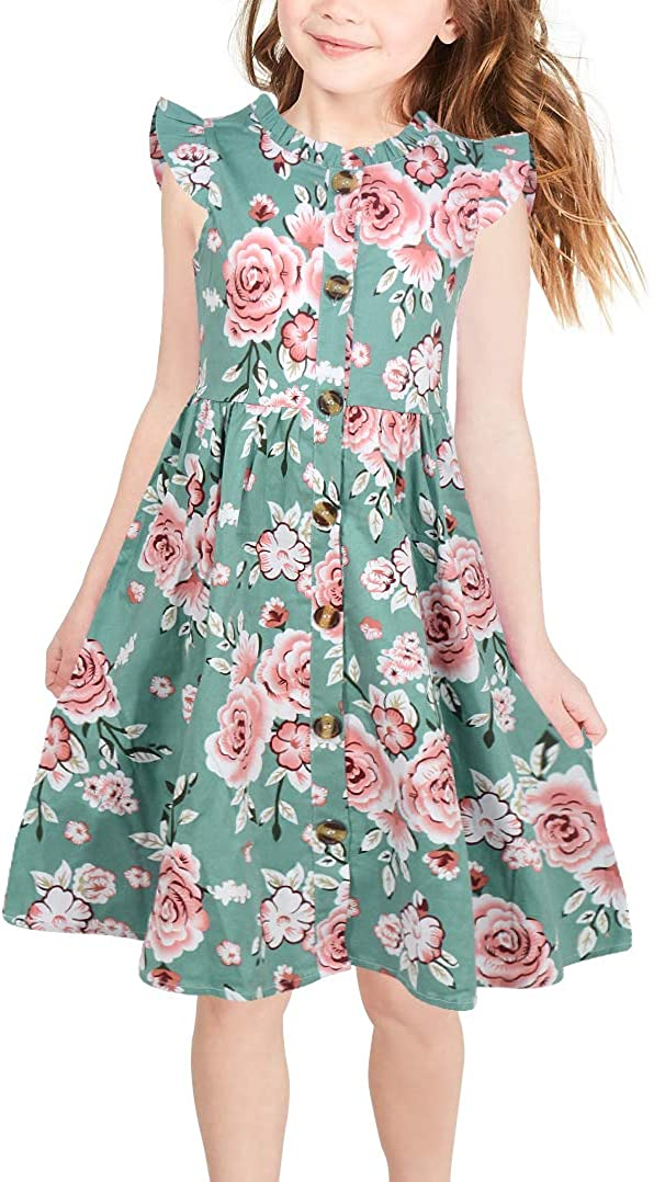 GORLYA Girl's Ruffle Trim Sleeve Button Down Floral Print Casual Vintage Midi Dress with Pockets for 4-12 Years Kids