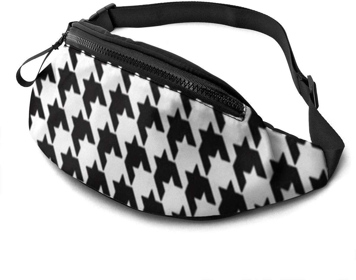 Fanny Packs For Women Men Cute Fanny Black And White Houndstooth Pack For Teen Girls Adjustable Belt Men Waist Bag Casual Hip Bag Bum Bags For Travel Festival Hiking Running