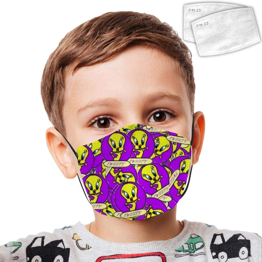 389 Twee-ty Bird 5 Kid Dust Face Cover Adjustable Mouth Mask Balaclava Bandanas Washable Reusable with 2 Filter Paper for Teens Boy Girl