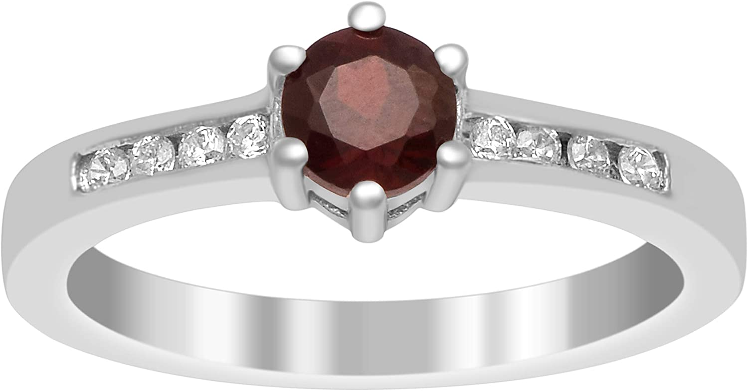 Shine Jewel Solitaire Accents 925 Sterling Silver 0.58 Ct Red Garnet Gemstone Wedding Ring