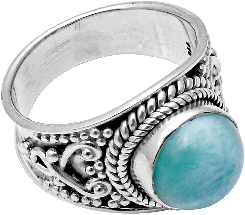 Natural Larimar Gemstone 925 Sterling Silver Bohemian Handmade Jewelry Ring Size-7