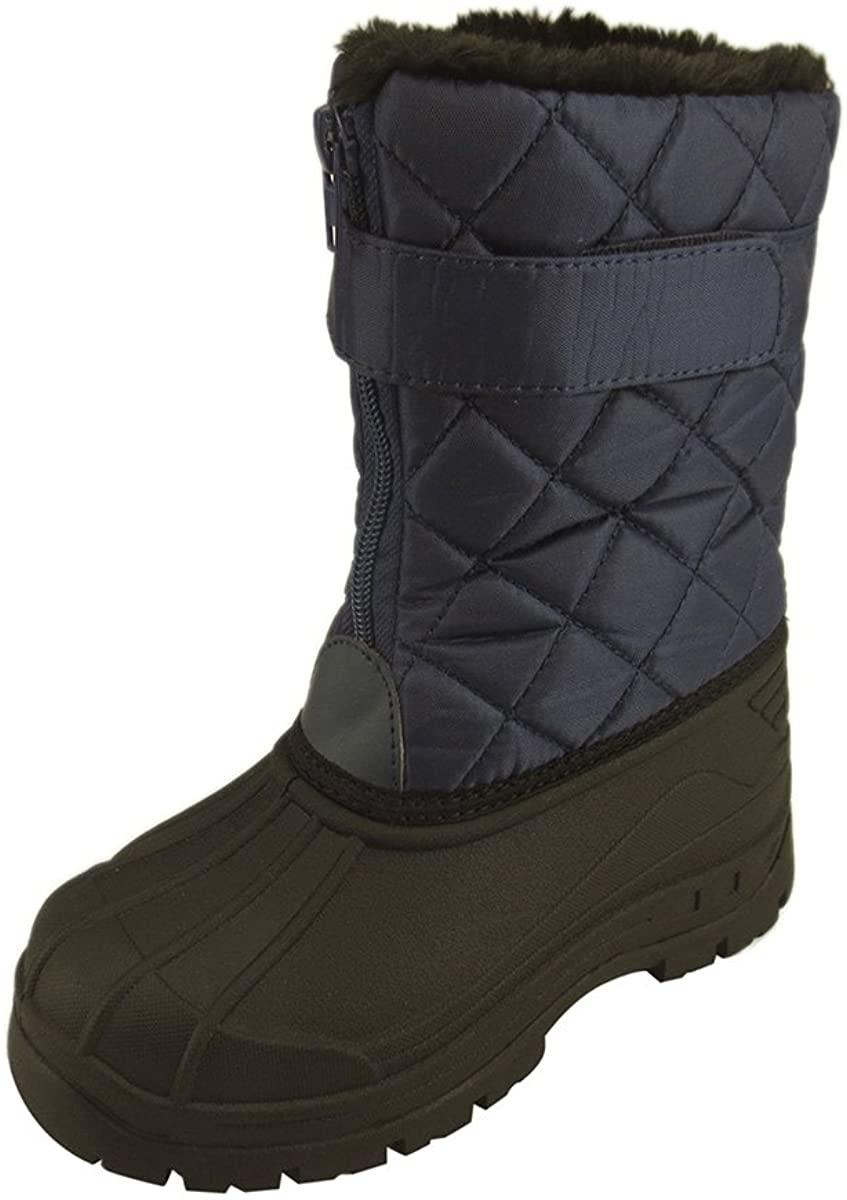 Little Kid's Unisex Boys Girls Comfy Snow Rain Warm Furry Boots Waterproof (11, Blue)