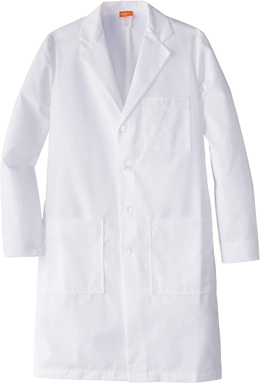 BARCO Labcoats Men's Size Tall 37 Inch 6 Pocket Lab Loose Back Belt, White, 42L