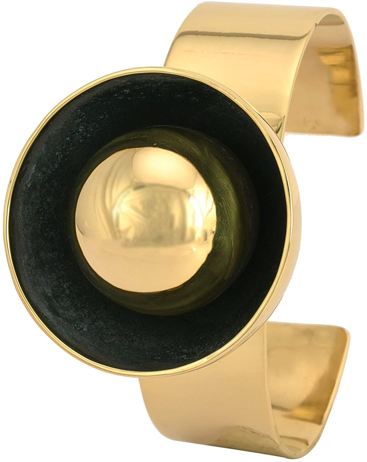 Handmade Brass Cuff with cup and Ball Design