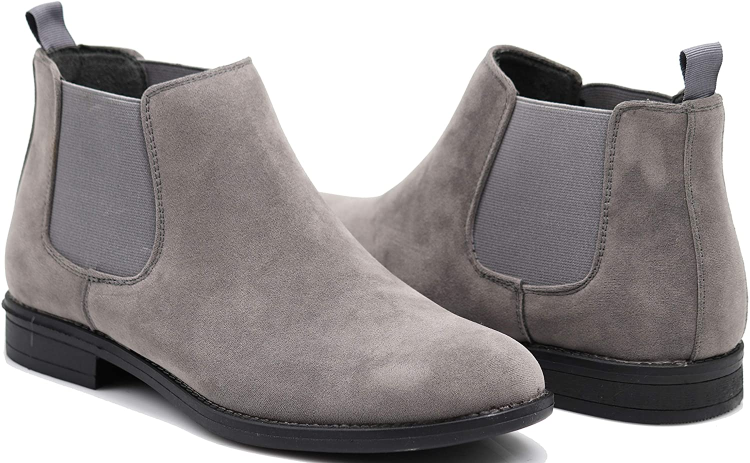 SHL Men's Chelsea Boots Dress Fashion Slip On Classic Ankle Boots (10.5, Grey)