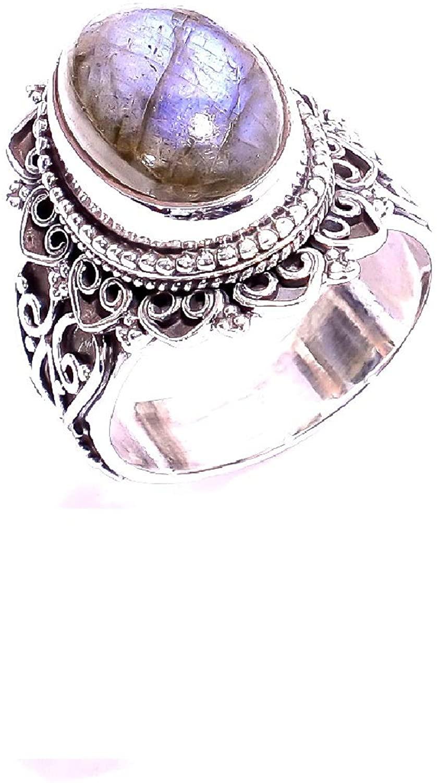 Mughal gems & jewellery 925 Sterling Silver Ring Natural Labradorite Gemstone Fine Jewelry Ring for Women & Girls Size 7.5 U.S (ZR-899