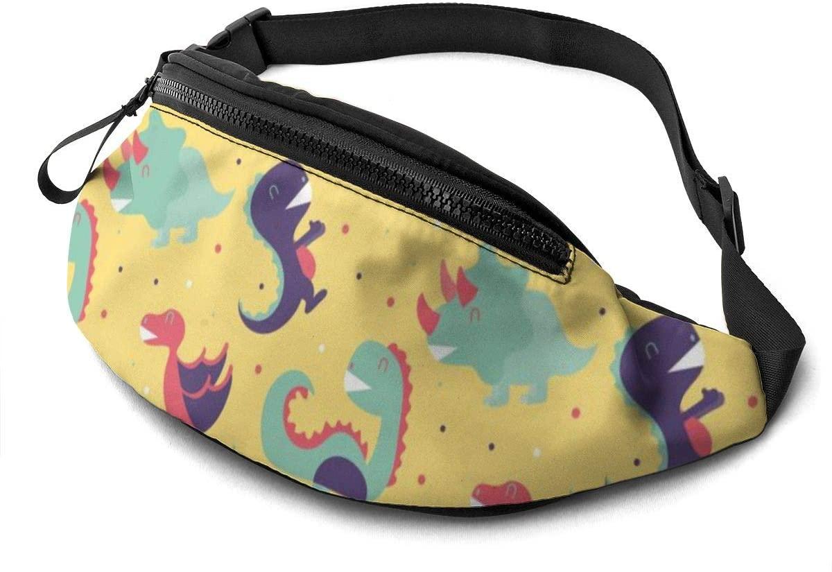 Enjoyable Dinosaurs Pattern Fanny Pack For Men Women Waist Pack Bag With Headphone Jack And Zipper Pockets Adjustable Straps