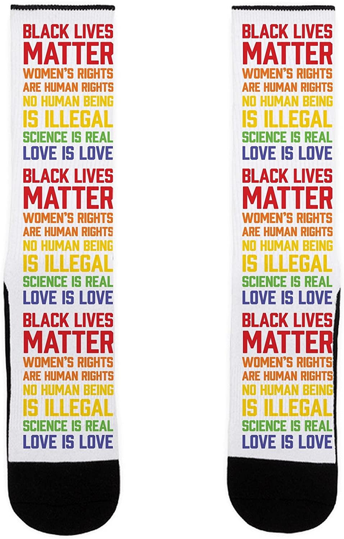 LookHUMAN Black Lives Matter List US Size 7-13 Socks