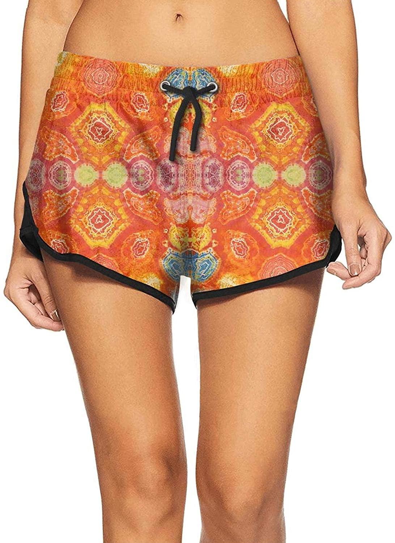 Summer Beachwear Quick Dry Trippy Tie Dye Art Short Beach Shorts for Women Unique Beach Shorts