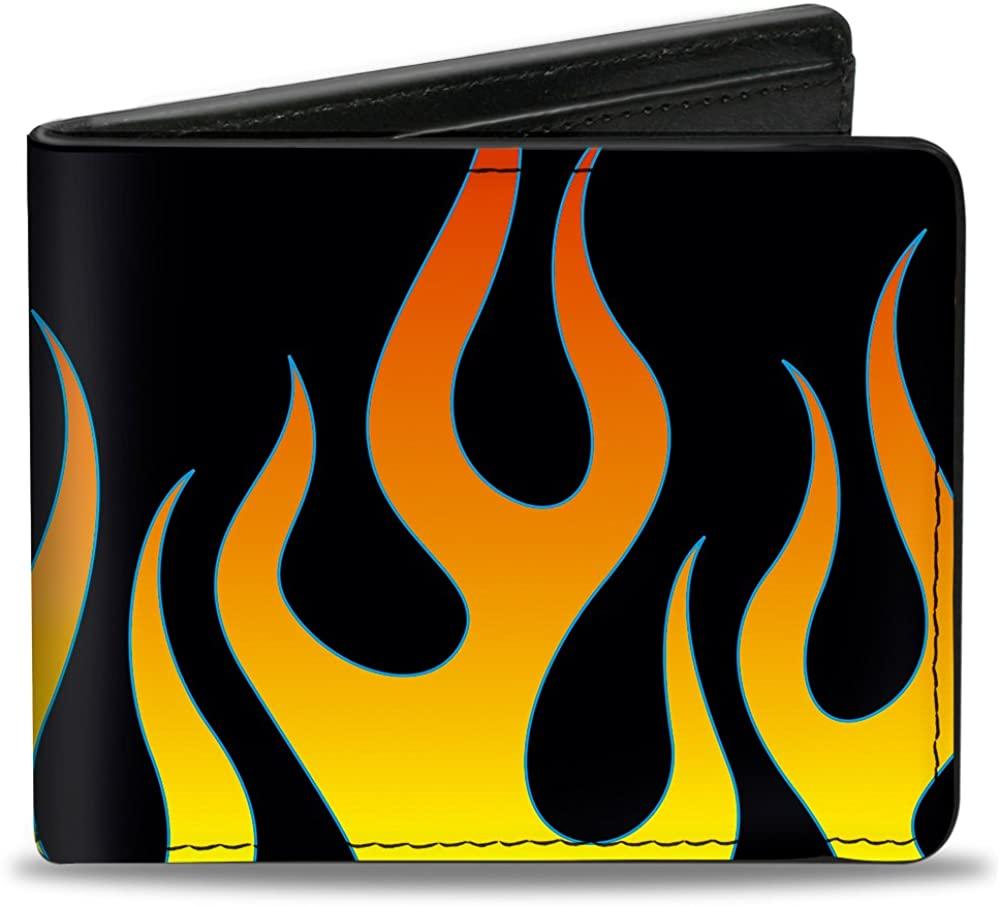 Buckle-Down PU Bifold Wallet - Flames Black/Yellow/Orange