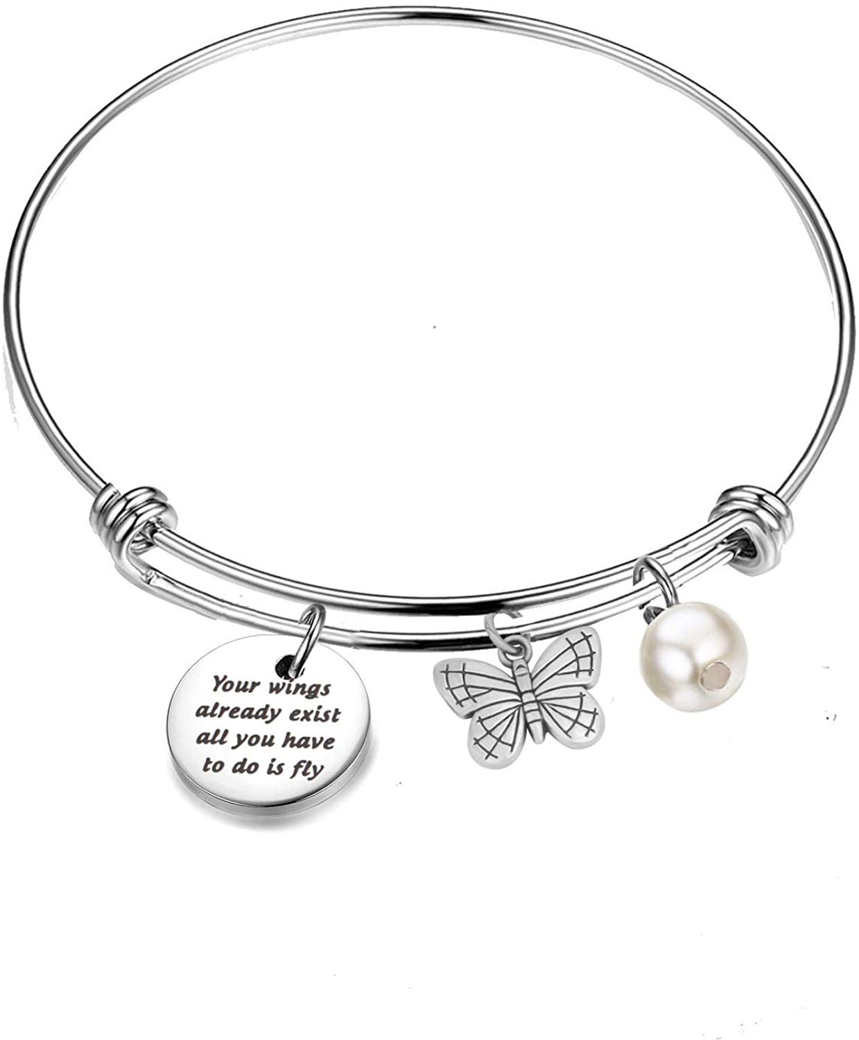 AKTAP Inspirational Bracalets Butterfly Charm Bangle Bracelet Your Wings Already Exist All You Have to Do is Fly Graduation Gift