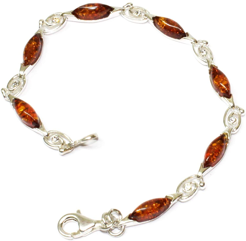 Creazioni Oro 925/1000 Silver Bracelet with Cognac Natural Baltic Amber W0007 (B4647)