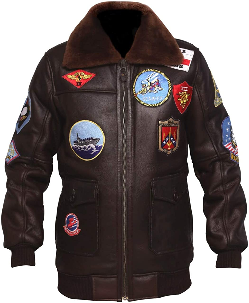 Mens G-1 Flight Bomber Jacket - WW2 Real Fur-Collar Patches Brown Leather Jacket