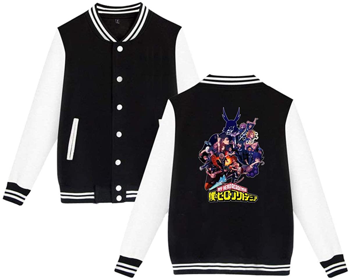 Leonner My Hero Academia Unisex Casual Jacket, Couple Baseball Uniform Button Jacket