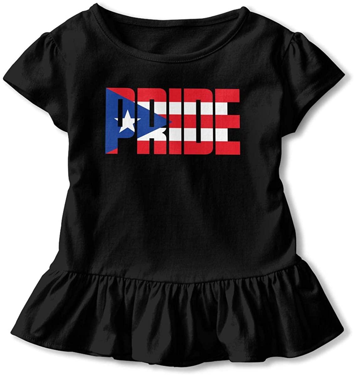 Toddler Girl's Ruffle T-Shirt Puerto Rico Pride Short Sleeve 2-6T