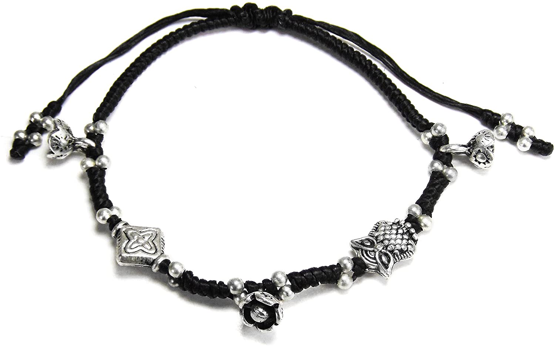 AeraVida Mystic Owl and Flower Cotton Wax Rope Handmade Adjustable Wrist Pull Bracelet