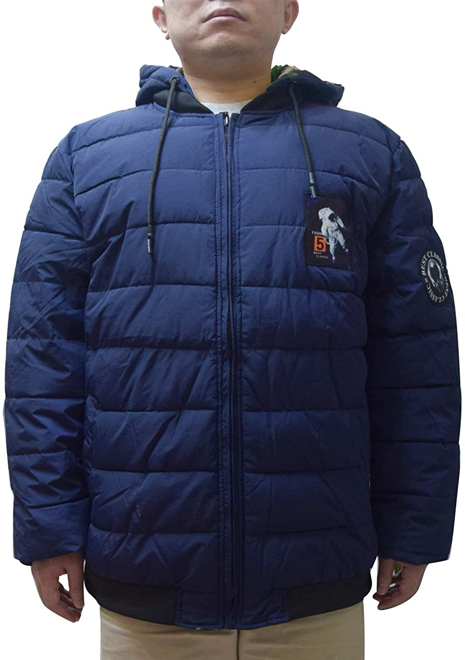 Zoulee Mens Packable Down Jacket Hooded Jacket Double-Sided Wear