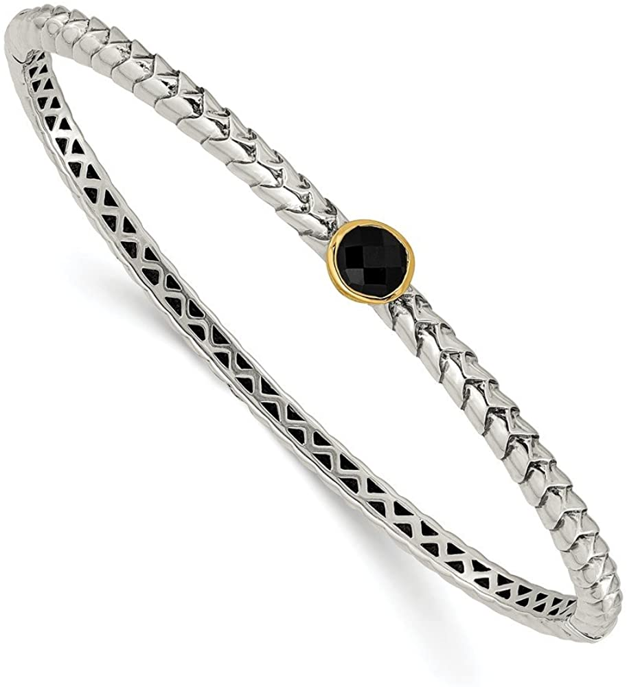 Mia Diamonds 925 Sterling Silver and 14k Yellow Gold Antiqued 6mm Onyx Bangle Bracelet