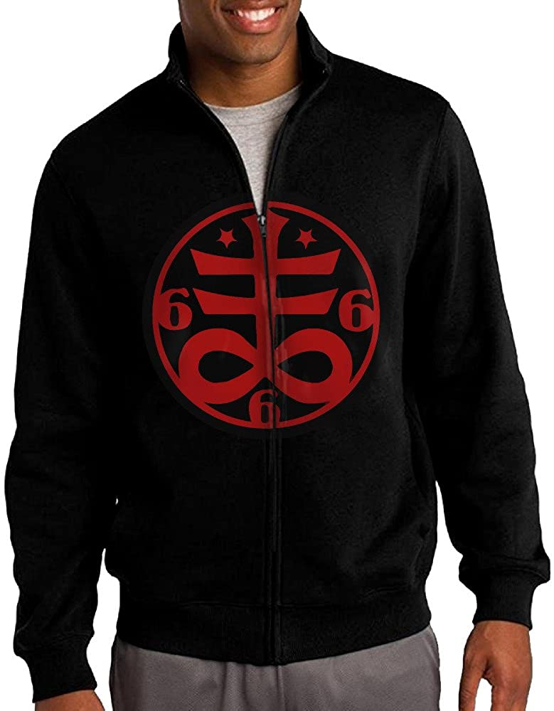 Men's Goth Occult Satanic Cross Symbol Full-Zip Fleece Jacket